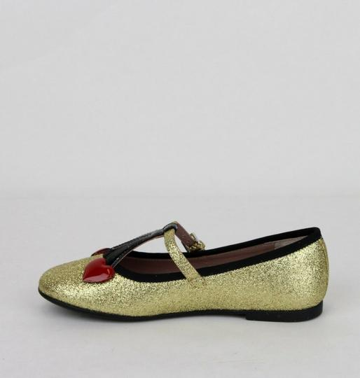 Gucci Gold W Shimmer Fabric Ballet Flats W/Cherry Hearts 31/Us 13 433120 8090 Shoes Image 6