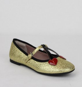 Gucci Gold W Shimmer Fabric Ballet Flats W/Cherry Hearts 32/Us .5 433120 8090 Shoes