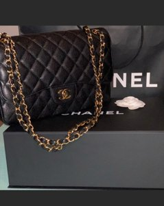90ddc871ac6 Chanel Caviar Large Double Flap Black Grained Calfskin   Gold-tone Metal  Shoulder Bag - Tradesy