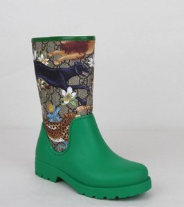 Gucci Green Lion/Tiger/Leopard Gg Coated Rain Boots 30/Us 12.5 442772 8953 Shoes