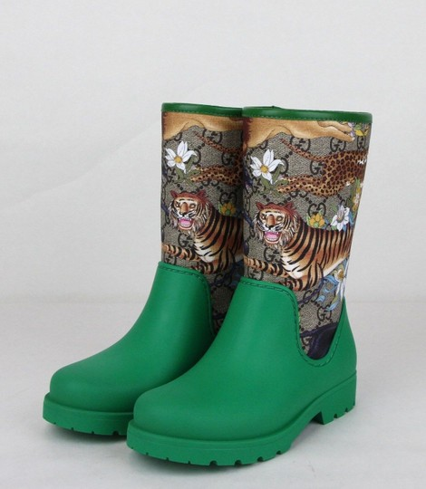 Gucci Green Lion/Tiger/Leopard Gg Coated Rain Boots 30/Us 12.5 442772 8953 Shoes Image 1