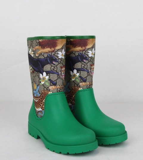 Gucci Green Lion/Tiger/Leopard Gg Coated Rain Boots 30/Us 12.5 442772 8953 Shoes Image 3