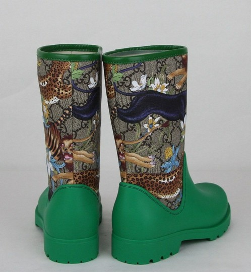 Gucci Green Lion/Tiger/Leopard Gg Coated Rain Boots 30/Us 12.5 442772 8953 Shoes Image 4