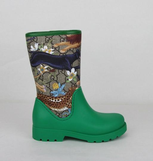 Gucci Green Lion/Tiger/Leopard Gg Coated Rain Boots 30/Us 12.5 442772 8953 Shoes Image 5