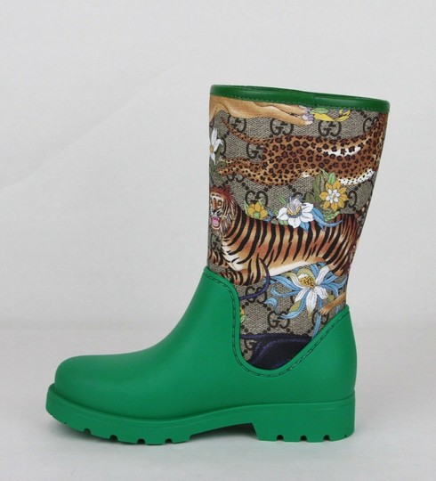 Gucci Green Lion/Tiger/Leopard Gg Coated Rain Boots 30/Us 12.5 442772 8953 Shoes Image 6