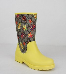 Gucci Yellow Children's Beetles Gg Coated Rain Boots 32/Us .5 442772 8863 Shoes