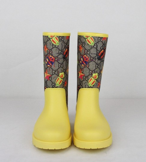 Gucci Yellow Children's Beetles Gg Coated Rain Boots 32/Us .5 442772 8863 Shoes Image 2
