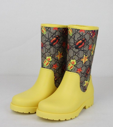 Gucci Yellow Children's Beetles Gg Coated Rain Boots 31/Us 13 442772 8863 Shoes Image 1