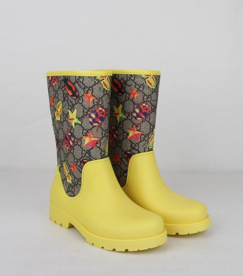 Gucci Yellow Children's Beetles Gg Coated Rain Boots 31/Us 13 442772 8863 Shoes Image 3