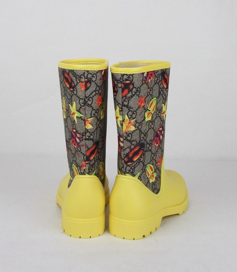 Gucci Yellow Children's Beetles Gg Coated Rain Boots 31/Us 13 442772 8863 Shoes Image 4
