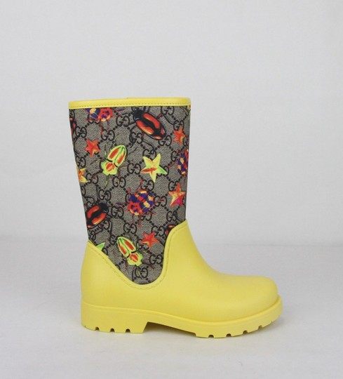 Gucci Yellow Children's Beetles Gg Coated Rain Boots 31/Us 13 442772 8863 Shoes Image 5
