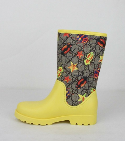 Gucci Yellow Children's Beetles Gg Coated Rain Boots 31/Us 13 442772 8863 Shoes Image 6