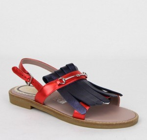 Gucci Red/Blue Red/Blue Metallic Leather Fringe Sandals 32/Us .5 455387 4071 Shoes