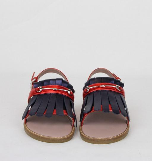 Gucci Red/Blue Red/Blue Metallic Leather Fringe Sandals 32/Us .5 455387 4071 Shoes Image 2