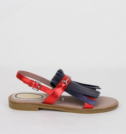 Gucci Red/Blue Red/Blue Metallic Leather Fringe Sandals 32/Us .5 455387 4071 Shoes Image 5