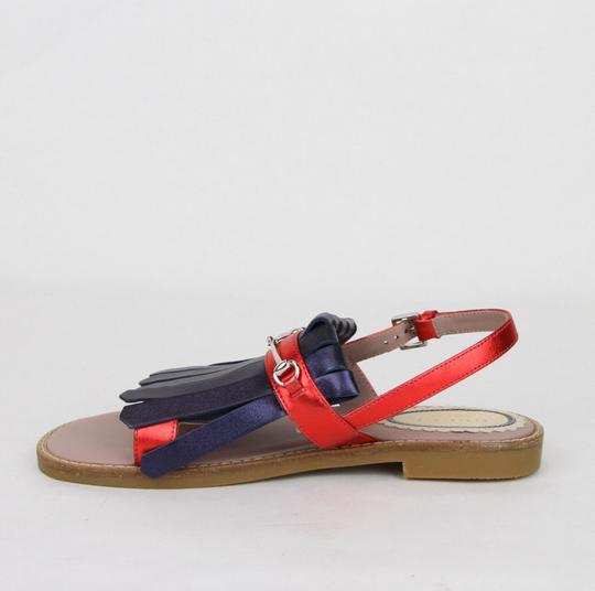 Gucci Red/Blue Red/Blue Metallic Leather Fringe Sandals 32/Us .5 455387 4071 Shoes Image 6