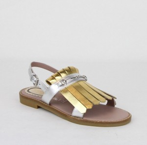 Gucci Silver/Gold Children's Silver/Gold Metallic Leather Sandals 33/Us 1.5 455387 8064 Shoes