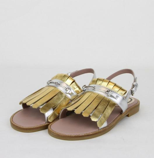 Gucci Silver/Gold Children's Silver/Gold Metallic Leather Sandals 33/Us 1.5 455387 8064 Shoes Image 1