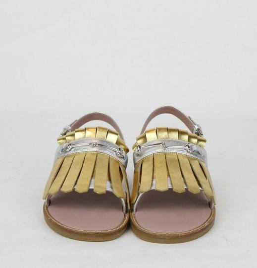 Gucci Silver/Gold Children's Silver/Gold Metallic Leather Sandals 33/Us 1.5 455387 8064 Shoes Image 2
