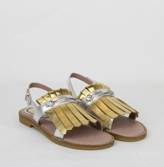 Gucci Silver/Gold Children's Silver/Gold Metallic Leather Sandals 33/Us 1.5 455387 8064 Shoes Image 3