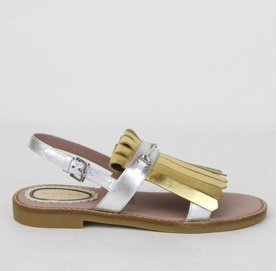 Gucci Silver/Gold Children's Silver/Gold Metallic Leather Sandals 33/Us 1.5 455387 8064 Shoes Image 5