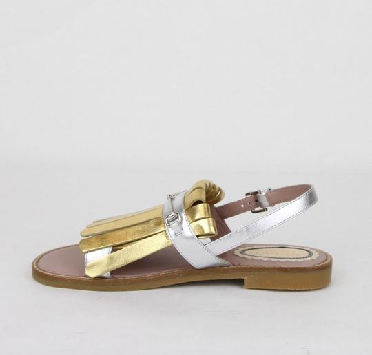Gucci Silver/Gold Children's Silver/Gold Metallic Leather Sandals 33/Us 1.5 455387 8064 Shoes Image 6