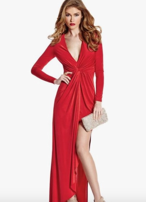 Guess By Marciano Evening Flowy V-neck Longsleeve Stretchy Dress Image 1