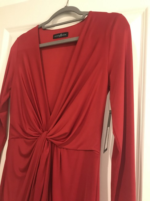 Guess By Marciano Evening Flowy V-neck Longsleeve Stretchy Dress Image 2