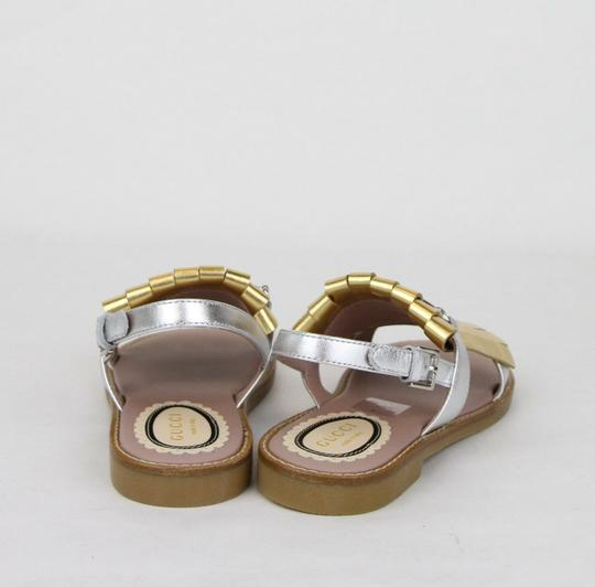 Gucci Silver/Gold Children's Silver/Gold Metallic Leather Sandals 31/Us 13 455387 8064 Shoes Image 4