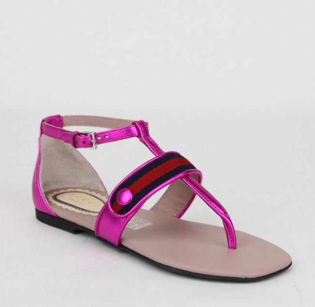 Item - Pink W Metallic Leather Sandal W/Red Blue Web 30/Us 12.5 455382 5565 Shoes