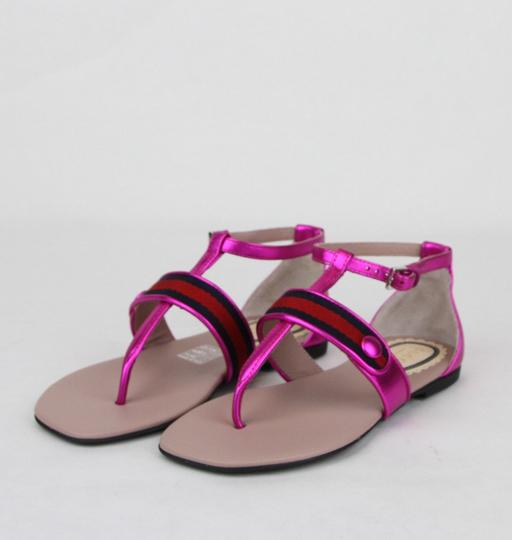 Gucci Pink W Metallic Leather Sandal W/Red Blue Web 30/Us 12.5 455382 5565 Shoes Image 1