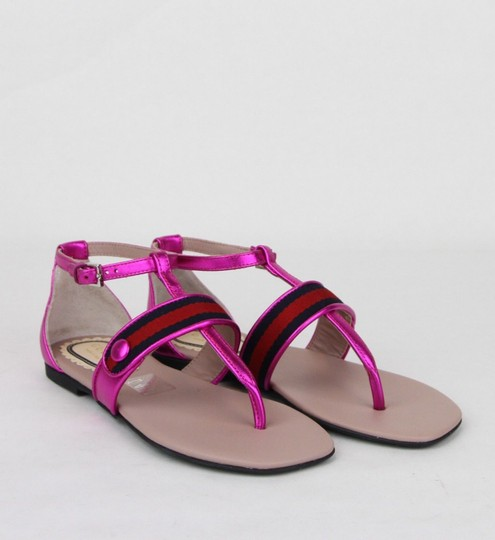 Gucci Pink W Metallic Leather Sandal W/Red Blue Web 30/Us 12.5 455382 5565 Shoes Image 3