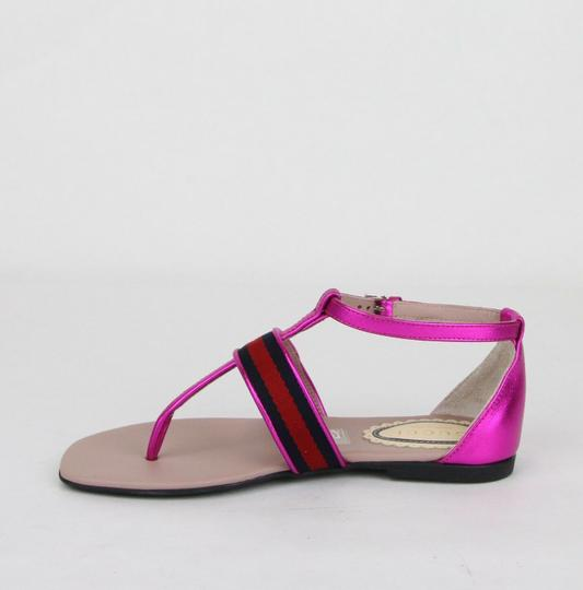 Gucci Pink W Metallic Leather Sandal W/Red Blue Web 30/Us 12.5 455382 5565 Shoes Image 6