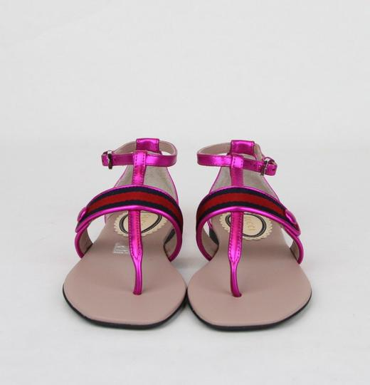 Gucci Pink W Metallic Leather Sandal W/Red Blue Web 31/Us 13 455382 5565 Shoes Image 2