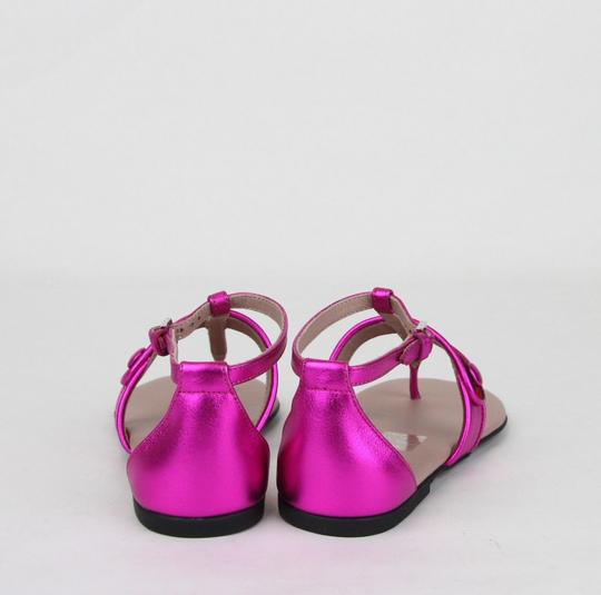 Gucci Pink W Metallic Leather Sandal W/Red Blue Web 31/Us 13 455382 5565 Shoes Image 4