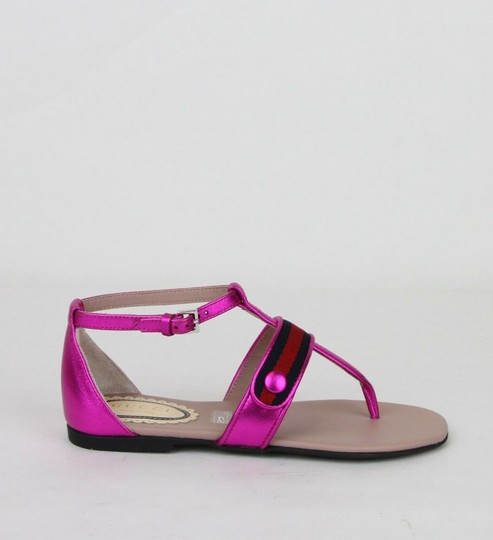 Gucci Pink W Metallic Leather Sandal W/Red Blue Web 31/Us 13 455382 5565 Shoes Image 5