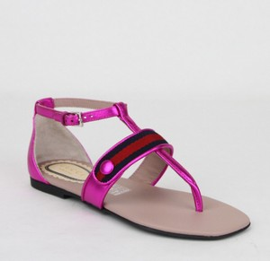 Gucci Pink W Metallic Leather Sandal W/Red Blue Web 33/Us 1.5 455382 5565 Shoes