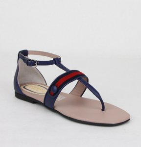 Gucci Navy Blue W Leather Sandal W/R/Blue Web 33/Us 1.5 455382 4560 Shoes