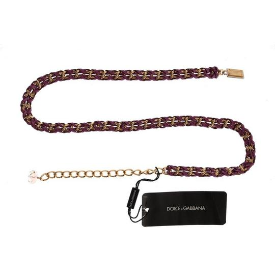 Dolce&Gabbana D10360-3 Women's Purple Leather Crystal Gold Belt (Small) Image 3