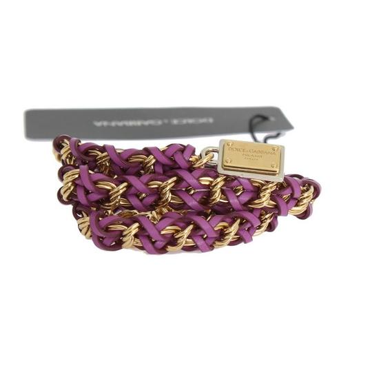 Dolce&Gabbana D10360-3 Women's Purple Leather Crystal Gold Belt (Small) Image 5
