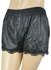 Dainty Hooligan Mini Lace Faux Leather Shimmer Skort Black