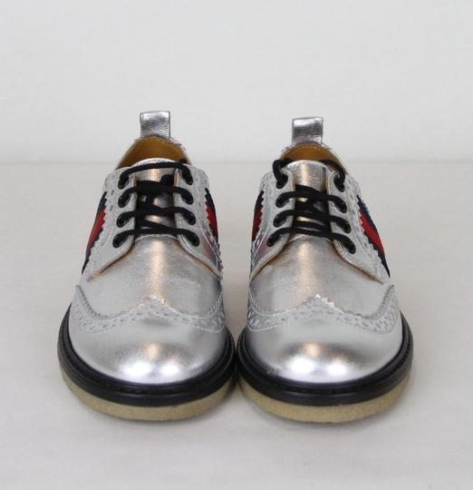 Gucci Silver Children's Metallic Leather Dress 32/Us .5 433130 8165 Shoes Image 2