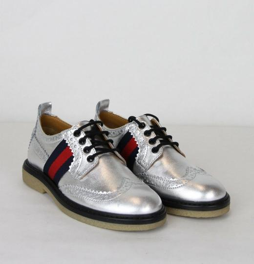 Gucci Silver Children's Metallic Leather Dress 32/Us .5 433130 8165 Shoes Image 3