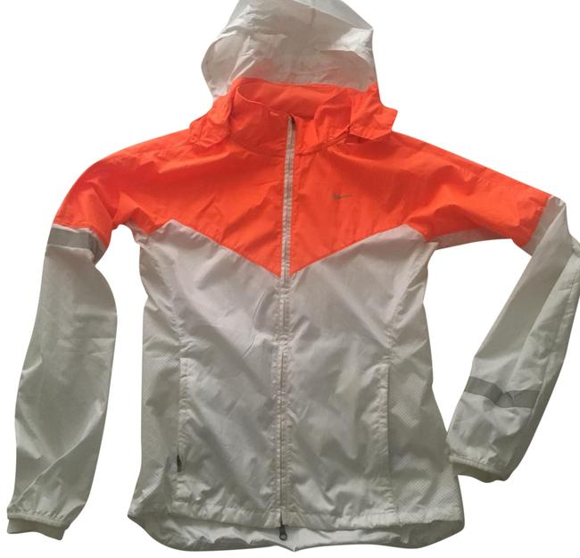 Item - White and Orange Running Windbreaker Activewear Outerwear Size 6 (S)