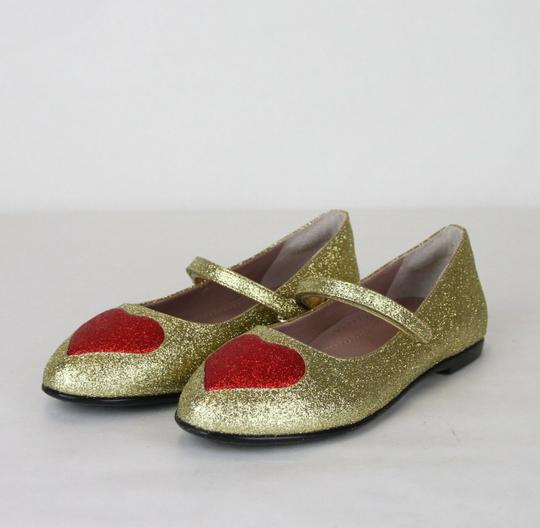 Gucci Gold Children's Shimmer Fabric Ballet Flat 31/Us 13 457017 8055 Shoes Image 1