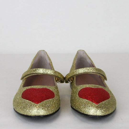 Gucci Gold Children's Shimmer Fabric Ballet Flat 31/Us 13 457017 8055 Shoes Image 2
