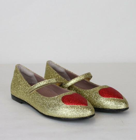 Gucci Gold Children's Shimmer Fabric Ballet Flat 31/Us 13 457017 8055 Shoes Image 3