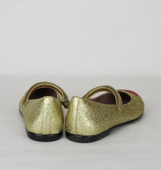 Gucci Gold Children's Shimmer Fabric Ballet Flat 31/Us 13 457017 8055 Shoes Image 4