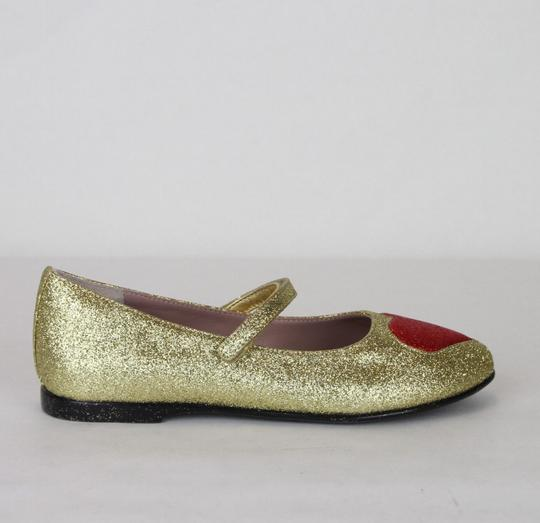 Gucci Gold Children's Shimmer Fabric Ballet Flat 31/Us 13 457017 8055 Shoes Image 5