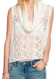 Free People Super Sheer Openwork Drapey Cowl Neck High Low Hem Side Hem Vents Fun To Layer Top Ivory